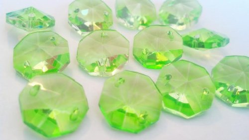 Crystal Octagon Shape - Chandelier Crystals 14mm Spring Green Octagon Prism Beads Pack of 12