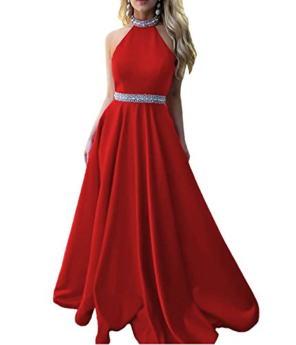 9f5c3d5801e ... Women s A Line Beaded Satin Prom Dresses Halter Neck Backless Long  Party Gowns Red US2.   