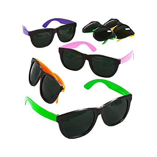 Blue Green Novelty Bulk Lot of 24 Neon 80's Style Party Sunglasses with Dark Lens