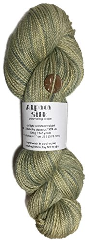 Artisan Yarns Hand Dyed Alpaca Silk Yarn, Kettle Dyed: Dried Green Herbs, Dk Weight, 100 Grams, 245 Yards, 70/30 Baby Alpaca/Mulberry ()