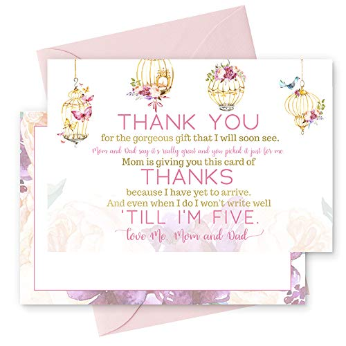 15 Fancy Floral Thank You Cards with Pink Envelopes Stationery for Girls Baby Shower Birds and -