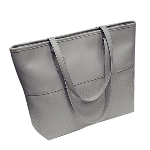 YJYDADA Bag,Woven Handbag Fashion Casual Bag Women Handbag Shoulder Tote Satchel Large Messenger Bag Purse (Gray) from YJYDADA