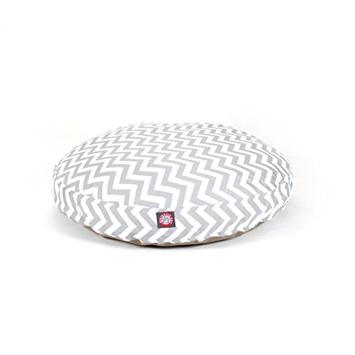 Medium Grey Chevron Stripes Pattern Dog Bed, Elegant Zig Zag Stripe-Inspired Print Pet Bedding, Round Shape, Features Water, Stain Resists, Removable Cover, Soft & Comfy Design, Plush Polyester by CU