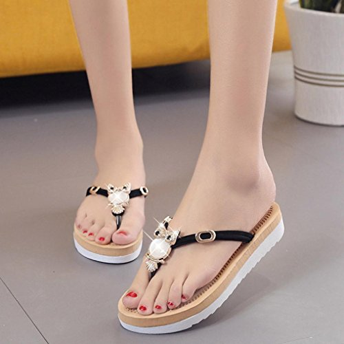 Elevin(TM)Women Summer Fashion Owl Peep Toe Low Platform Wedges Flip Flops Sandals Shoes Black GofbV3