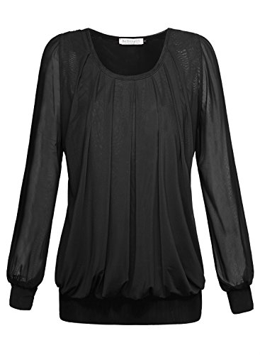 BAISHENGGT Women's Pleated Front Mesh Tunic Top Blouse Large Black (Top Sleeve Puff Pleated)