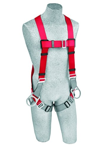3M Protecta PRO 1191205 Harness with 3 D-Rings, Pass Thru Legs, 420  lb. Capacity, Medium/Large, Red/Gray by 3M Fall Protection Business