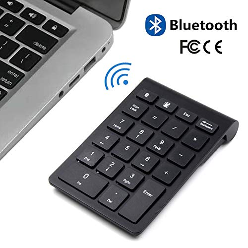 Bluetooth Number Pad, Wireless Bluetooth Slim 22-Key Financial Accounting Numeric Keypad External Numpad Keyboard Extensions for Data Entry in Excel for Laptop, Tablets, PC, Windows, Notebook etc.
