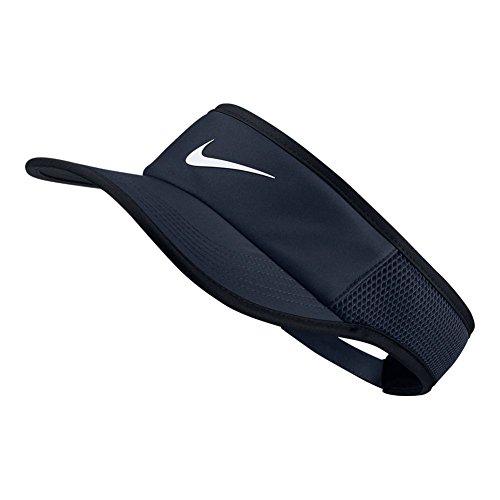 NIKE Aerobill Feather Light Adjustable Visor, Obsidian/Black/Whte