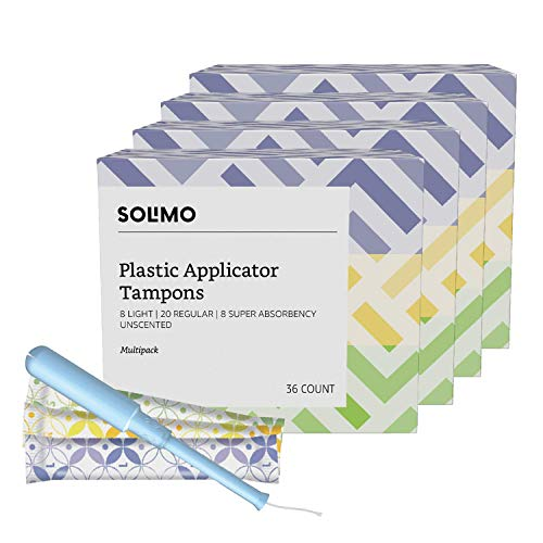 Amazon Brand - Solimo Plastic Applicator Tampons, Multipack, Light/Regular/Super Absorbency, Unscented, 144 Count (4 packs of 36)