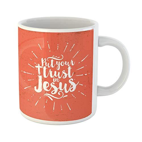 Semtomn Funny Coffee Mug Religion Put Your Trust in Cross 11 Oz Ceramic Coffee Mugs Tea Cup Best Gift Or Souvenir]()