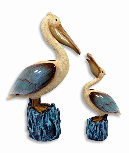 Hand Painted Pelican Bird With Baby Figurine 11.75