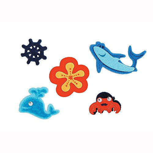 Darice FLT-1746D 25Piece, Felties Felt Stickers, Shark & Friends