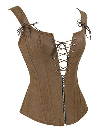 Charmian Women's Renaissance Lace Up Vintage Boned Bustier Corset with Garters 5