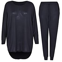 2 Piece Track Suit Set High Low Top and Bottoms Casual Loungewear Sweatshirt Joggers Set