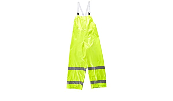 Size 2X Fluorescent Lime//Yellow COMFORT-BRITE O53122.2X .35mm Flame Resistant Hi-Visibility Snap Fly Front Overall with Reflective Tape