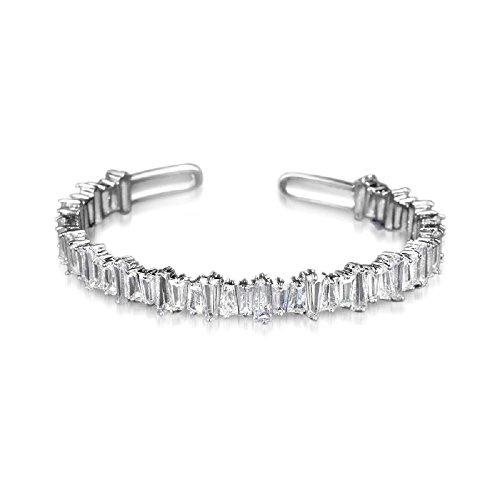 Bracelet White Baguette (Diane Lo'ren 18KT Gold Plated Baguette Cubic Zirconia Crystal Cuff Bangle Bracelet for Women (White))