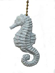 Sparkling light blue Seahorse ceiling Fan Pull chain ornament