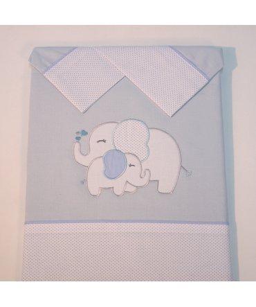 10XDIEZ Juego DE SÁBANAS Cuna Elefante Azul - Medidas sabanas bebé - Minicuna (50x80cm)