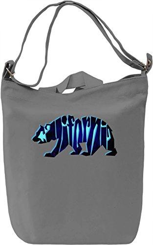 Blue California Bear Borsa Giornaliera Canvas Canvas Day Bag| 100% Premium Cotton Canvas| DTG Printing|