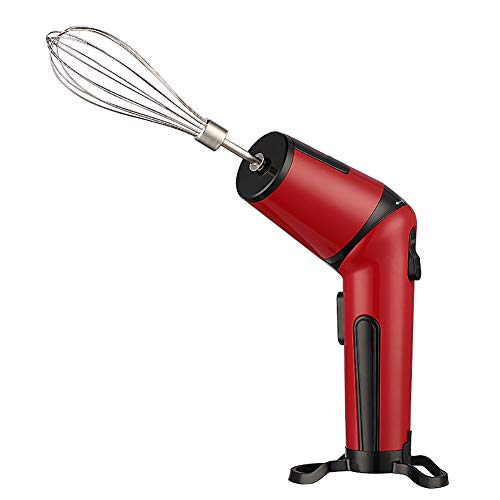 SANDM Wireless Handheld Egg Beater, Portable Household Hand Mixer Lithium Battery Electric Whisks Stainless Steel Beaters Mini Small Lightweight-red