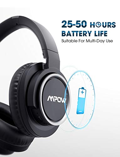 Mpow [Update] Active Noise Cancelling Headphones, 50 Hours Playtime with Hi-Fi Deep Bass, ANC Over Ear Bluetooth Headphones with Mic, Foldable Wireless Headset for Travel Work TV Cell Phone/PC by Mpow (Image #4)