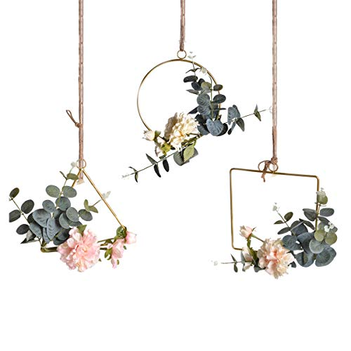 - Pauwer Floral Hoop Wreath Set of 3 Artificial Peony Flower and Eucalyptus Vine Wreath for Wedding Party Backdrop Decor