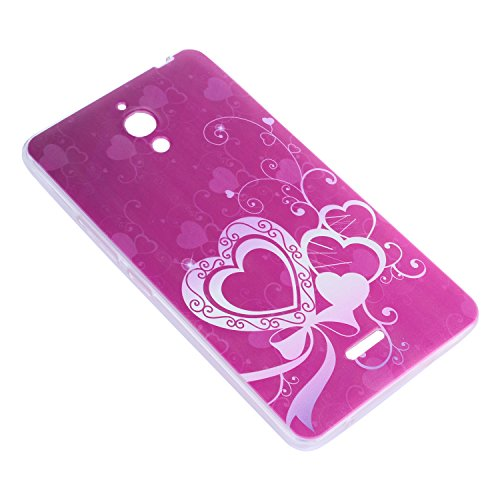 Lusee® Funda de silicona para Alcatel One Touch Pixi 4 6.0 8050D 3G (6 Pulgada) Suave Cascara TPU corazón púrpura