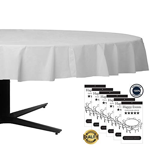 Premium Plastic Tablecloth 84 Inch-6-Pack Disposable Round White Waterproof Table Cover for Wedding Birthday Parties Events and Other Ocassions -