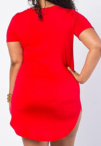 Womens Bodycon Hip Short Sexy Red Stretchy Jaycargogo Sleeve Package Dress Mini gUaqdxCT