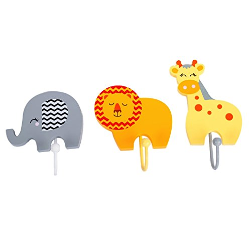 Handcrafted Wooden Safari Jungle Animals Childrens Coat Hook Hangers Wall Decor; Elephant, Lion & Giraffe, Room Decor for Kids, Girls, Boys