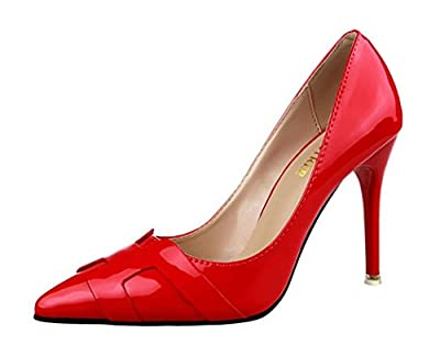 Ryse Women's Fashionable Decoration Leather Simple Classic Temperament High Heels Pointy Shoes