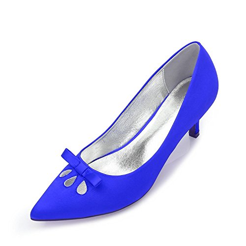 Toe Low Shoes Bridal Heels Kitten Mid Closed Women Stiletto Bow High Buckle Stiletto Blue Shoes Wedding Court L YC 0cwt7qgc
