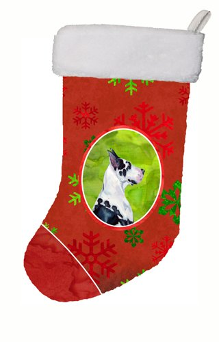 Caroline's Treasures LH9326-CS Great Dane Red and Green Snowflakes Holiday Christmas Stocking, 11 x 18, Multicolor