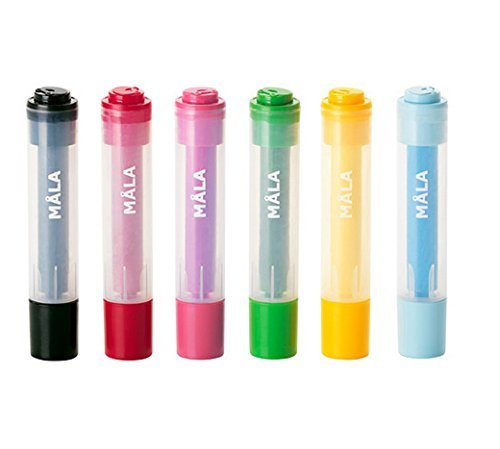 Ikea Mala Stamp Pen, 6 Assorted Colors,6 Pack