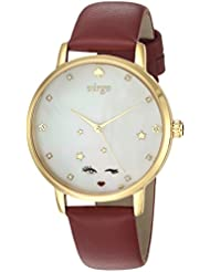 kate spade new york Womens Metro Quartz Stainless Steel and Leather Casual Watch, Color:Red (Model: KSW1189)