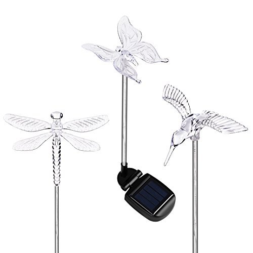 HCTro Solar Garden Lights, Crystal Upper Stake with Built in Multi Color Changing 3 LED, Hummingbird Butterfly Dragonfly, Solar Powered Lights, Outdoor Solar Lights for Patio Yard Fairy, 3 -