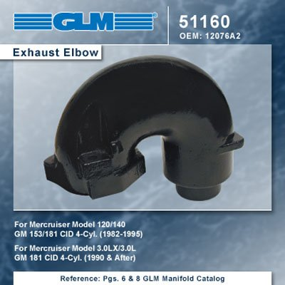 - MERCRUISER 4CYL EXHAUST ELBOW LX | GLM Part Number: 51160; Mercury Part Number: 12076A2