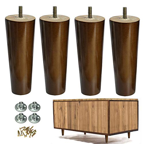 Furniture Legs Wood Sofa Legs Replacement Legs for Cabinet Vanity Couch Chair Dresser Pack of 4 (6 inch)