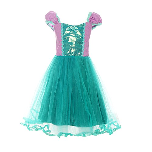 ReliBeauty Girls Little Mermaid Costume Puff Sleeve Princess Dress G9220 (6-6X, As Shown) (Girl Ariel Costume)