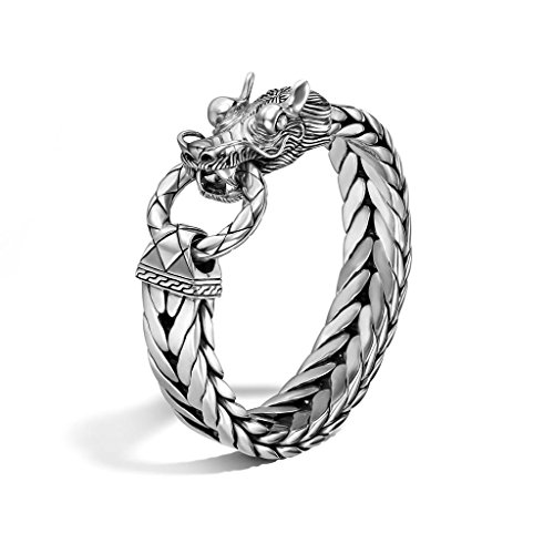 John Hardy MEN's Legends Naga Silver Dragon Head Bracelet on Extra-Large Rectangular Chain 15mm, Size M - BM65210XM (John Dragon Naga Hardy)