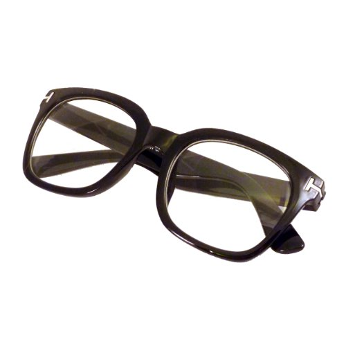 RETRO Designer Style Oversized Thick Frame Clear Lens Eyeglasses BLACK -
