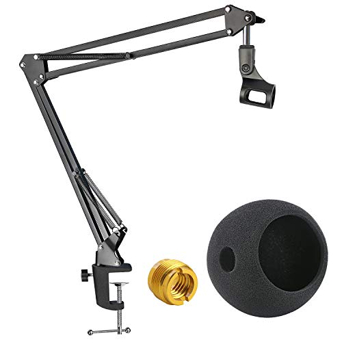 Blue Snowball Mic Boom Arm with Foam Windscreen