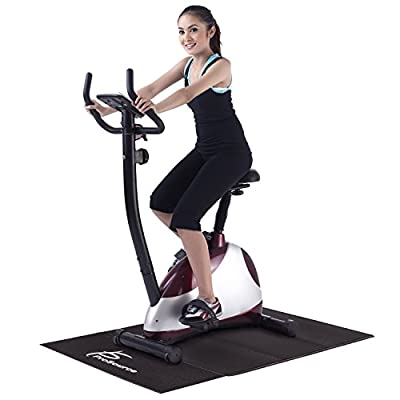 "ProSource Treadmill & Exercise Equipment Mats, Folding (7'L x 3'W x ¼""T) & Regular (6.5'L x 3'W x 5/32""T) Designs, High Density PVC Floor Protector"