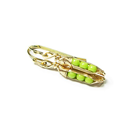 Tiny Pea Pod Earrings - 3 Peas in Gold Pods