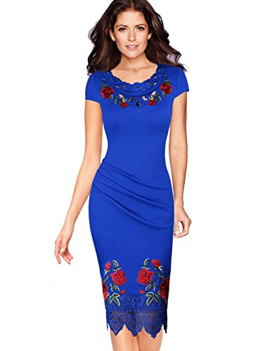 VfEmage Womens Elegant Crochet Lace Embroidery Flower Party Cocktail Dress 7991 Blu 20