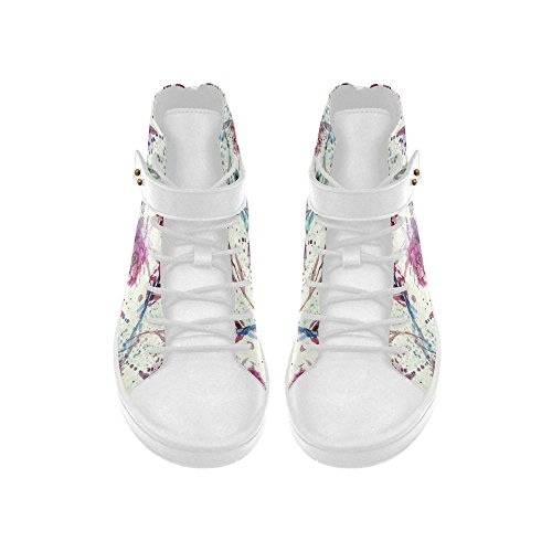 D-Story Round Toe High Top Shoes Water Color Flowers Womens Sneakers