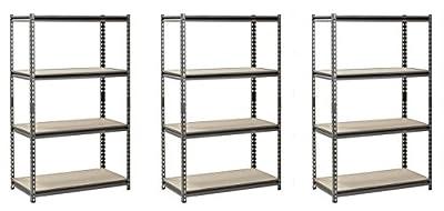 "Muscle Rack Silver Vein Steel Storage Rack, 4 Adjustable Shelves, 3200 lb. Capacity, 60"" Height x 36"" Width x 18"" Depth(Pack of 3)"