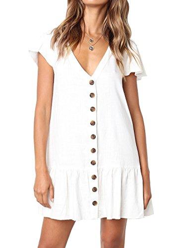 FOUR CLOUR Women's Casual Summer Deep V Neck Button Down Short Sleeve Mini Dress