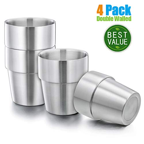 Kids Toddlers 18/8 Stainless Steel Double Walled Tumblers, HaWare 10 OZ Drinking Cups for Home/Camping/Gathering, BPA-Free, Unbreakable and Dishwasher Safe(4 Pack)
