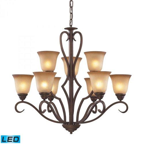 ELK 9329/6+3-LED, Lawrenceville Large Glass 2 Tier Chandelier Lighting, 9 Light LED, Mocha